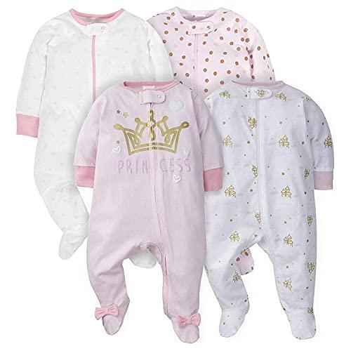 Gerber Baby Girls  4 Pack Sleep  N Play Footie  Castle  3-6 Months