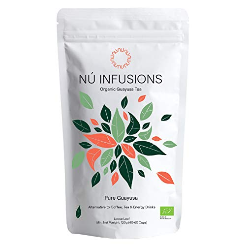 Nú Infusions Organic Guayusa Tea - Amazonian Herbal Tea with Slow-Release Caffeine for Focus & Energy Without Jitters - Certified Organic Tea, High in Antioxidants - 120g Loose Leaf