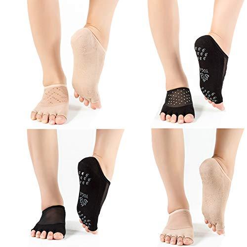 Jzy Qzn 6 paar niet-slip skid pilates yoga sokken antislip volledige teen met handvatten katoen voor vrouwen