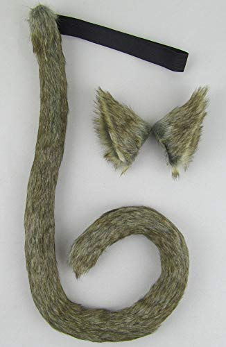 Long Fur Cat Ears and Cat Tail Set Halloween Party Kitty Cosplay Costume Kits (Black)