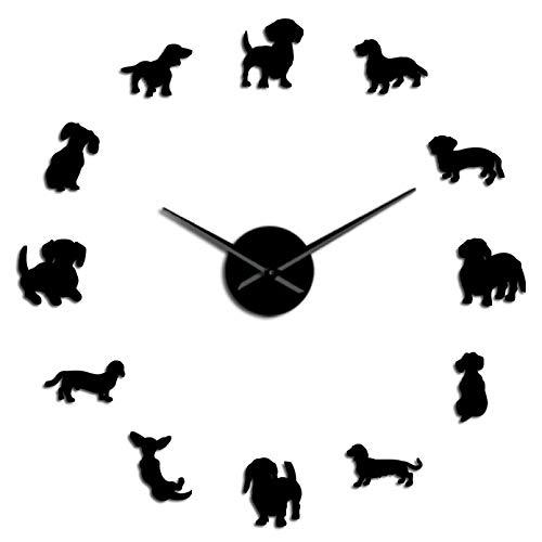 YQMJLF Reloj Pared DIY 3D Grande Reloj Pared Grande DIY Gigante Reloj Pared con diseño Perro Salchicha Perro Salchicha Perro Mascota Reloj Pared sin Marco con Efecto Espejo Perro Salchicha Negro
