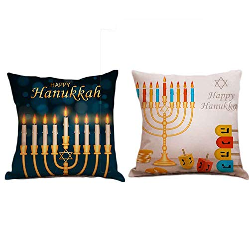 Seihoo Hanukkah Pillow Case for Couch Pillows - 2 Packs Hanukkah Throw Pillow Cases for Hanukkah Decoration (Bright&Dark-P3)