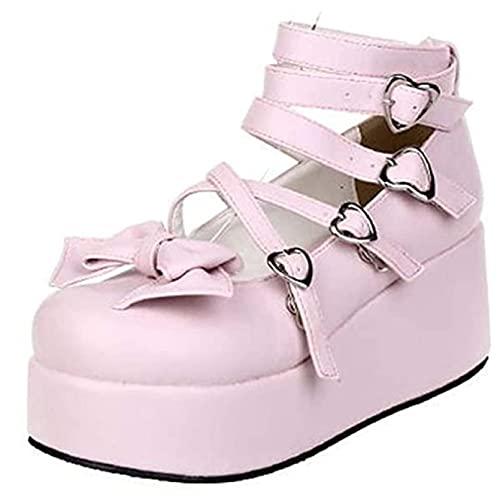 Frauen Kleid Schuhe Mode Anti-Rutsch-Plattform Keile High Heels Court Schuhe Süße herzförmige Schnalle Bowknot Mary Jane Schuhe