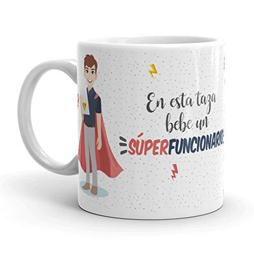 Kembilove Tazas de Café de Funcionario Superhéroe – En Esta Taza Bebe un Súper Funcionario – Tazas de Desayuno para la Oficina – Taza de Café y Té para Trabajadores – Tazas de 350 ml