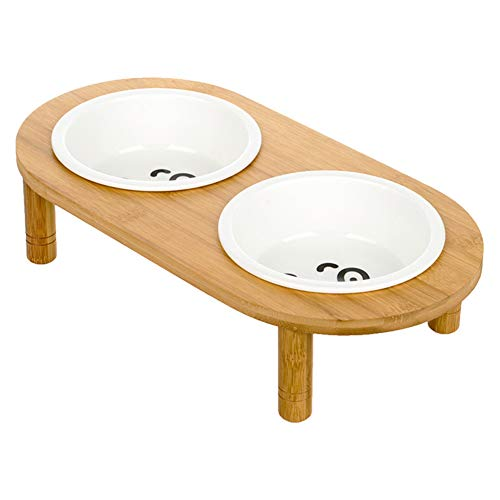 Ice con Huisdier Bowl, Keramische RVS Bescherming Cervicale Vertebrae Anti-Overdraaide Kat Hond Voedsel Water Dubbele Bowl Kantelen bij Elke Hoek met Hout Beugel