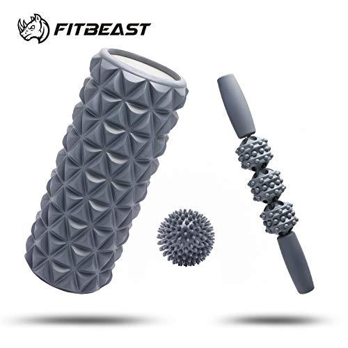 FitBeast Set de Rodillo de Hule 2 en 1 Dar Masajes Profundos, Barra y Pelota para Dar masajes en Puntos de Dolor, Relajan Músculos Rígidos y Adoloridos, Relajación Profunda, Rehabilitación