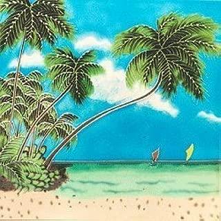 J Sea Designs Palm Tree w/Boat Ceramic Wall Art Tile 4x4