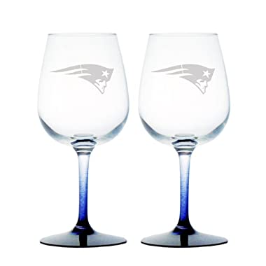 NFL New England Patriots Wine Glass, 12-ounce, 2-Pack