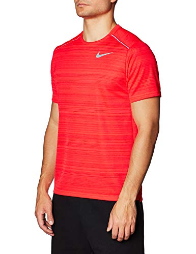 NIKE M Nk Dry Miler Top SS T-Shirt, Hombre, Laser Crimson/htr/(Reflective silv), L