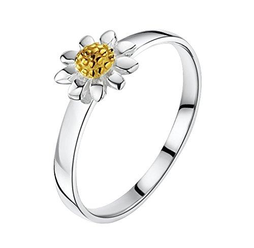 Jo for Girls-Ciondolo in argento Sterling 925, con margherita effetto spazzolato al centro, in oro giallo, Misura: 6