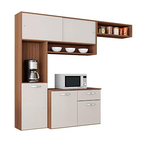 Cozinha Compacta Suspensa c/Balcão Thais-poquema - Capuccino/Off white