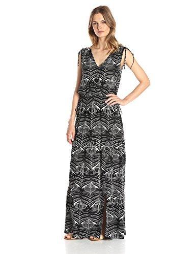 Lark & Ro Women's Sleeveless Multi-Tiered Maxi Dress, Black Multi, Small