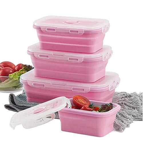 Collapsible Silicone Food Storage Container, Lunch Bento Box, Reusable Insulated Food Preserving Storage Boxes, Outdoor Picnic Box, Microwave, Dishwasher and Freezer Safe, Set of 3