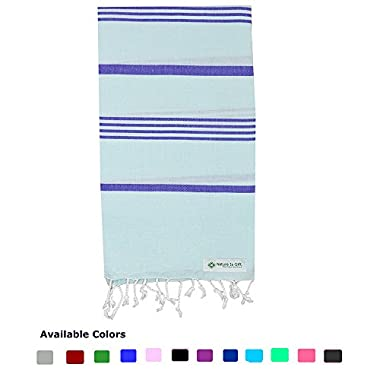 Nature Is Gift Turkish Pestemal Towel Bath Beach Towel Yoga Sarong Gym Spa Sauna Fouta Peshtemal Pool Towel 100% Cotton Aqua-Blue