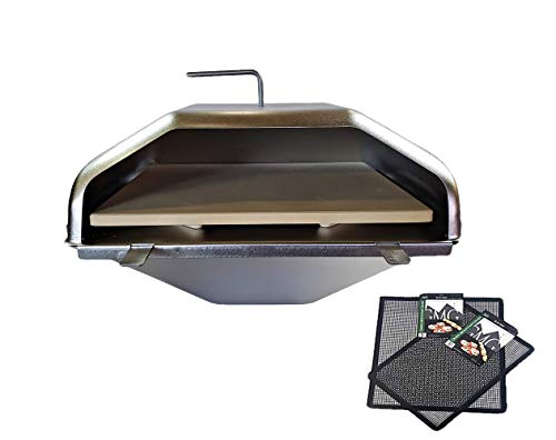 GMG Green Mountain Grill Wood Fired Pizza Oven Plus Free BBQ/Grilling Mats, GMG-4023 - Wood Fire BBQ, Pellet Pizza Oven and Free Grilling MATS