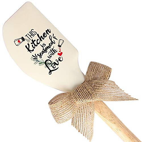 THREE HUMAN This Kitchen Is Seasoned With Love Funny Silicone Spatula, Baking Tool, Modern Farmhouse Kitchen Decor, Gift for Chef, Lovers, Grandma, Wife