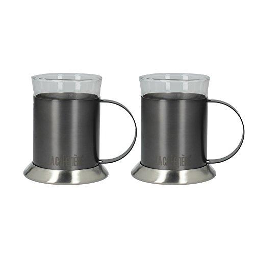 La Cafetière Edited - Juego de 2 tazas de café (cristal, doble pared, 200 ml, metal)