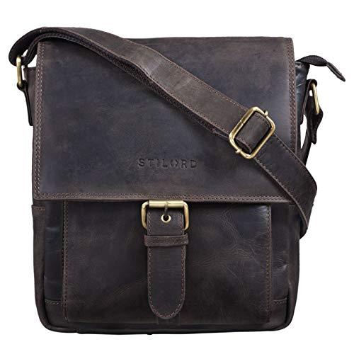 STILORD 'Nevio' Herrentasche Leder Umhängetasche kleine Messenger Bag Elegante Handtasche im Vintage Design Schultertasche für 10.1 Zoll Tablet iPad echtes Leder, Farbe:dunkel - braun