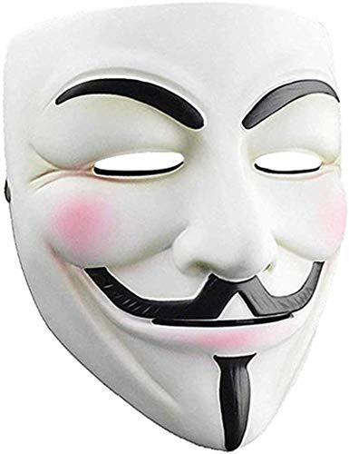 QUNPON Halloween Maske, V für Vendetta Anonyme Kostümmaske Gruselige Halloween Cosplay Party Maske mit universeller Größe