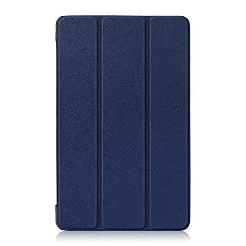 YANTAIAN Funda de Cuero con Tapa Horizontal Custer Texture for Huawei MediaPad M5 Lite 8 Pulgadas, con Soporte Triple (Color : Dark Blue)