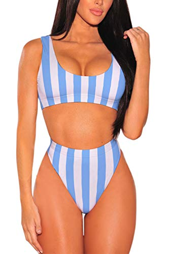 Pink Queen Women's Two Piece High Waisted Bathing Suit Striped Bikini Set Blue L