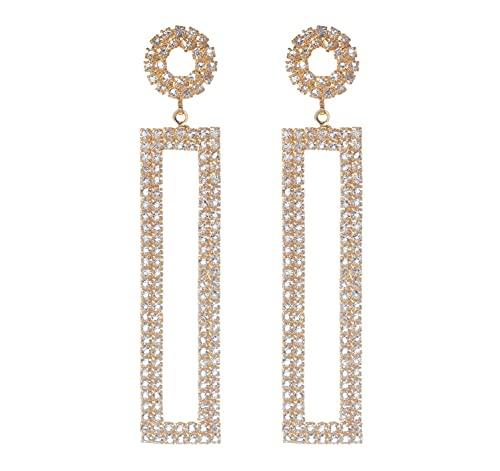 BEMDOFIG 14K Gold Statement Long Earrings for Women Girls Rhinestone Geometric Drop Earrings Jewelry
