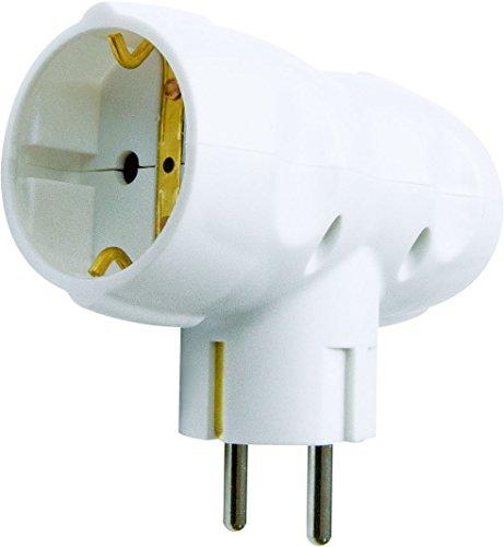 Garza Power - Adaptador Doble Lateral (2 Tomas Schuko) con toma de Tierra, formato Retráctil, color Blanco
