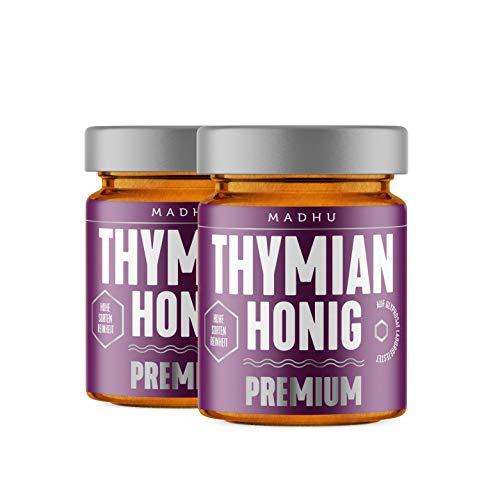 Madhu Honey Thymian Honig im hochwertigen Glas - Doppelpack– in Premiumqualität direkt vom Imker aus Neuseeland (2x 250g), abgefüllt in Hamburg