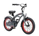 BIKESTAR Kinderfahrrad für Jungen ab 4-5 Jahre | 16 Zoll Kinderrad Cruiser | Fahrrad für Kinder Grau | Risikofrei Testen