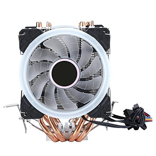 Goshyda Enfriador de CPU, 4 Tubos de latón Ventilador 3RGB Radiador de Gran tamaño Ultra silencioso de 4 Pines, para Intel/AMD, para Sempron/Athlon 64 / Athlon X2 / Phenom 64