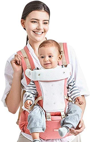 GBlife Mochila Portabebé Ergonómico Multifuncional 4 en 1 Fular Porta Bebé con Múltiples Posiciones Suave Ajustable para Niños (Rosa)