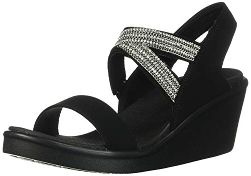 Skechers Damen Rumble On - Chart Topper Slingback Sandalen, Schwarz (Black Mitobuck/Metal/Clear Rhinestone Blk), 41 EU