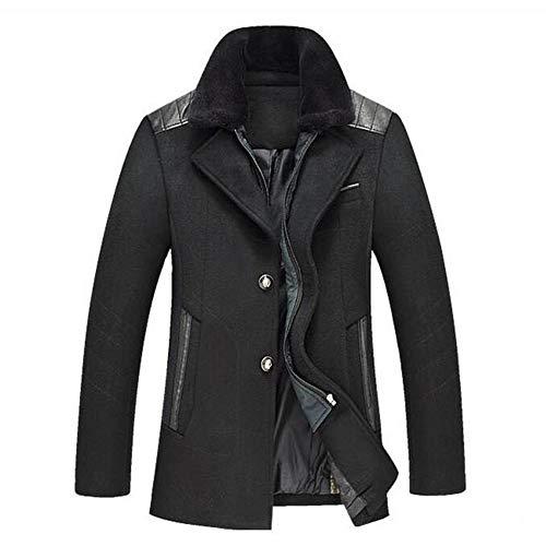 GUOQIAN Mens Long Double Breasted Trench Coat Gentlemen Formal Wear Jacket Overcoat Outfits Pea Coats,Navy,XXXXL