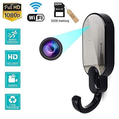 MY-COSE Ocultar WiFi Camerar, Hook Up cámara espía inalámbrica, Remote App Ver HD180P visión Nocturna por Infrarrojos Espejo Diseño Oculto, (Construido en la Tarjeta SD 32G) la Seguridad en casa