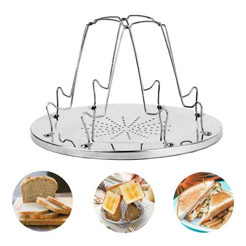 MeYuxg Camping Toaster, Edelstahl-Faltbarer Toastablett Toastregal Herd Toaster mit Ständer Poröses, Tablett Brot Toaster für Feuer Herd Toast Gasherd Camping