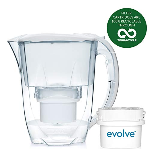Aqua Optima EJ0630 Oria Water Jug with 1 x Evolve Filter-1 Month Pack, Plastique, White, 11,7 x 25,3 x 24,9 cm