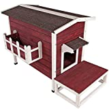 Petsfit Cat House Outdoor Waterproof Rabbit Hideaway, Cat House for Outdoor, Asphalt Roof Cat Cave with Platform for Cats and Small Dogs,Stray Cat Flower Basket