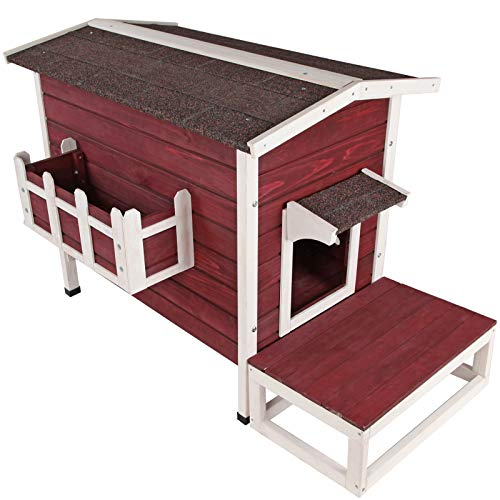 Petsfit Large Weatherproof Outdoor Cat House with Flowerpot