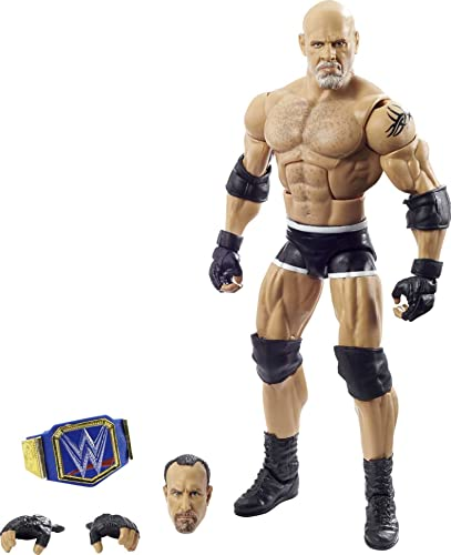 WWE Wrestlemania 37 Elite Collection Goldberg Action Figure with Universal Championship and Paul Ellering and Rocco BuildAFigure Pieces6 in Posable Collectible Gift Fans