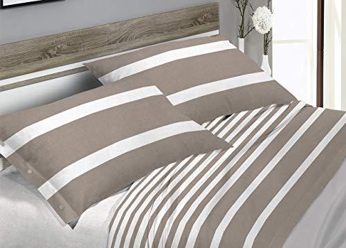 CapitanCasa Parure de lit en Flanelle Douce Motif à Rayures Beige Francese Beige