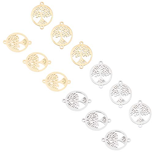 UNICRAFTALE 12pcs Round with Tree of Life Links Hypoallergenic Metal Charms Stainless Steel Charms Golden & Stainless Steel Color Charm for DIY Bracelet Necklace Jewelry Making