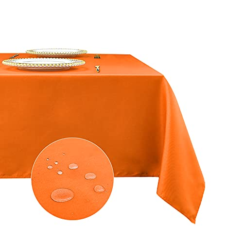 Romanstile Rectangle Tablecloth 60 x 120 inch - Waterproof and Wrinkle Resistant Washable Polyester Table Cloth for Kitchen Dining/Party/Wedding Indoor and Outdoor Use Table Cover (Orange)