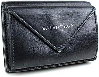 (バレンシアガ) BALENCIAGA ミニ財布 財布 三つ折り財布 黒 ペーパーミニウォレット k14 [中古]