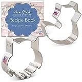 Ann Clark Cookie Cutters Juego de 2 cortadores de galletas animales del bosque con libro de recetas, búho adorable y zorro adorable