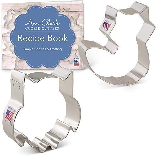 Ann Clark Cookie Cutters 2-Piece Woodland Animal Cookie Cutter Set with Recipe Booklet, Cute Owl and Cute Fox