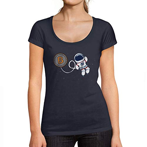 Ultrabasic - Camiseta de Mujer Bitcoin a La Luna Camiseta HODL BTC Crypto Merchants Stampato Lettere Marine Francés