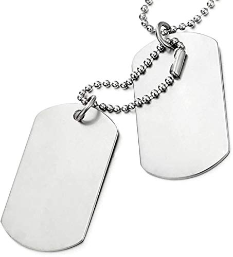 NC188 Classic Two-Pieces Mens Dog Tag Pendant Necklace with 28 inches Ball Chain