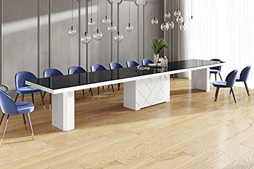 Design Konferenztisch Tisch HEK-111 Schwarz/Weiß Hochglanz XXL ausziehbar 180 bis 468 cm