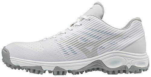 Mizuno Slowpitch Footwear Ambition All Surface Low Turf Shoe, White, 7.5