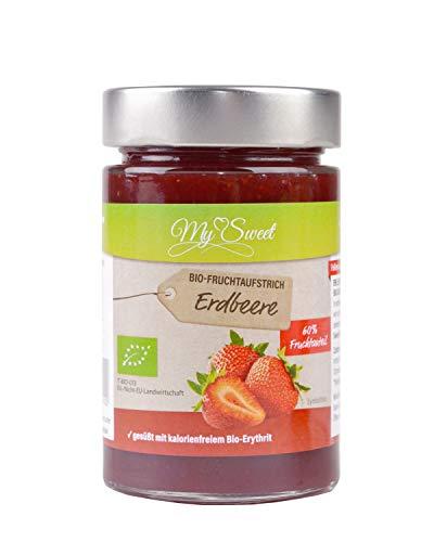 My Sweet Bio Fruchtaufstrich Erdbeere ohne Zucker Zusatz mit Bio Erythrit aus Italien, 60% Frucht, ohne Xylit, Stevia oder chemischen Süßstoff, 225g in Glas (1x Erdbeere)